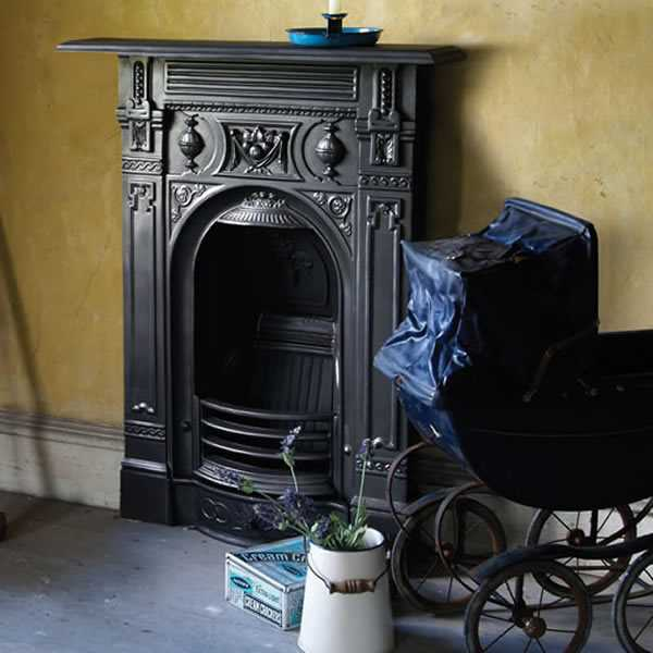 black Victorian fireplace in period room