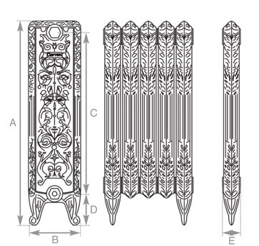 Veneto cast iron radiator measurements