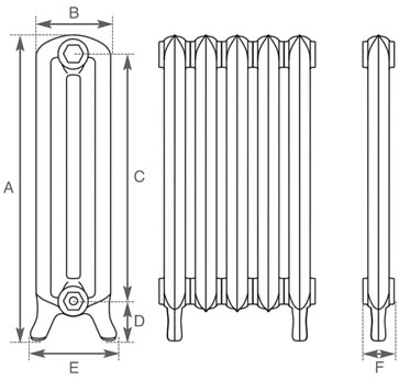 Peerless cast iron radiator measurements