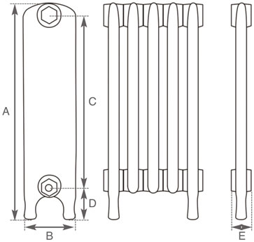 Eton cast iron radiator measurements
