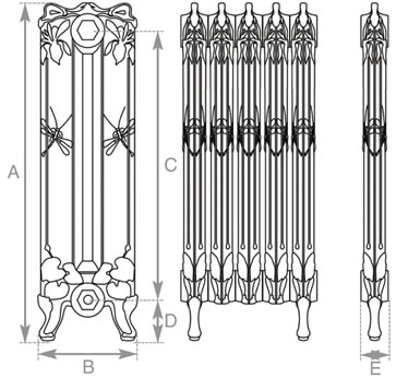 Dragonfly cast iron radiator measurements