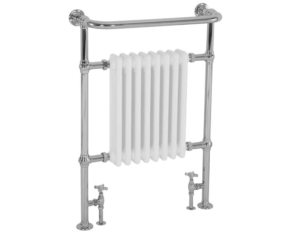 Welbourne towel rail with chrome finish and white radiator
