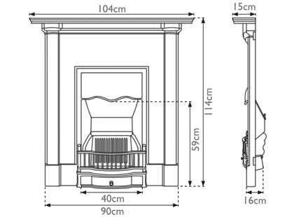 Abingdon cast iron combination fireplace measurements