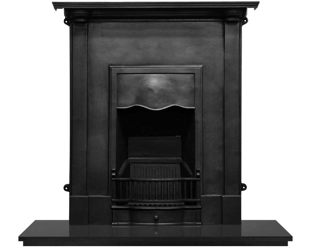 Abingdon cast iron combination fireplace in black