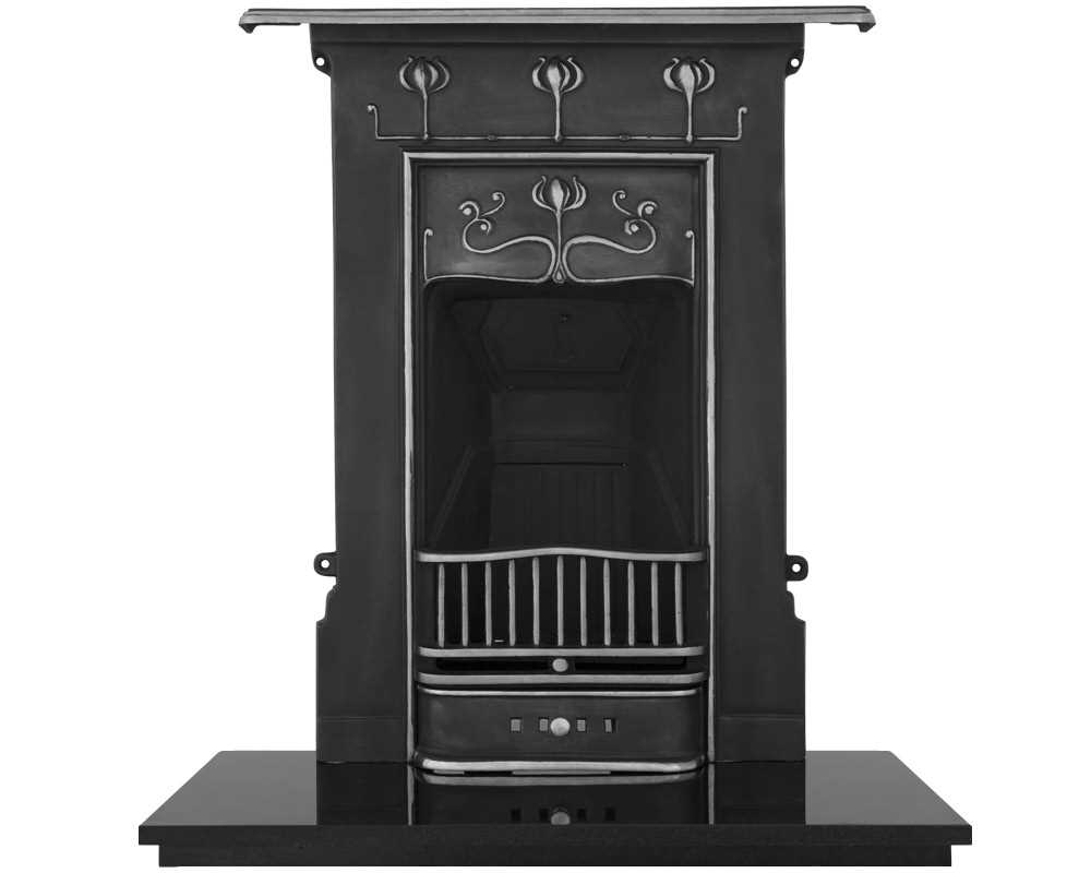 Abbot combination cast iron fireplace in high polish