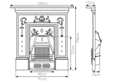 Bella combination fireplace measurements