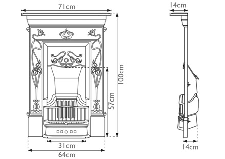 Crocus cast iron combination fireplace measurements