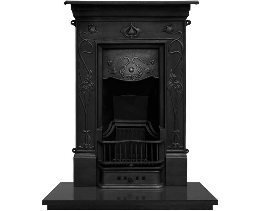 cast iron combination fireplace in black