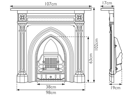 Gothic cast iron combination fireplace measurements