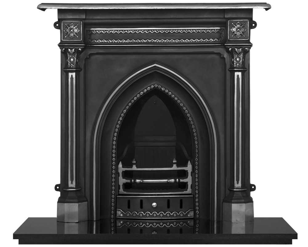 cast iron combination fireplace in highlight polish
