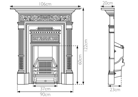 Hamden cast iron combination fireplace measurements