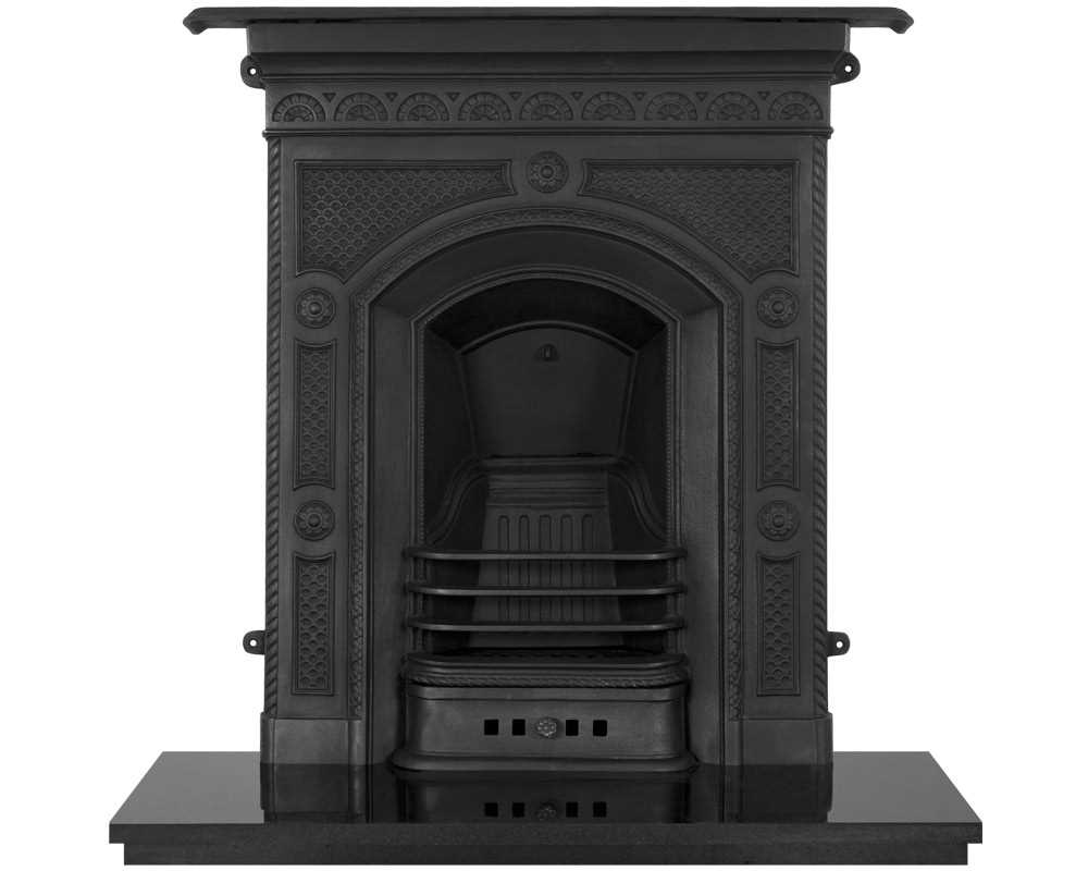 Hawthorne cast iron combination fireplace in black