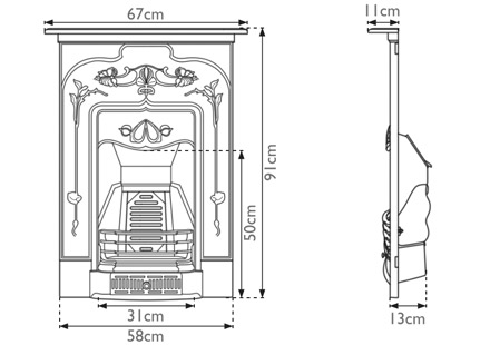 Jasmine cast iron combination measurements