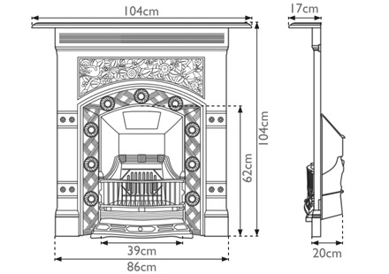 Jekyll cast iron combination fireplace measurements