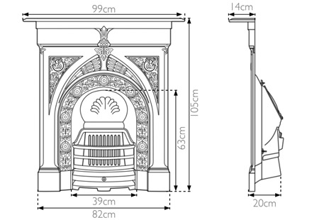Knaresborough cast iron combination fireplace measurements