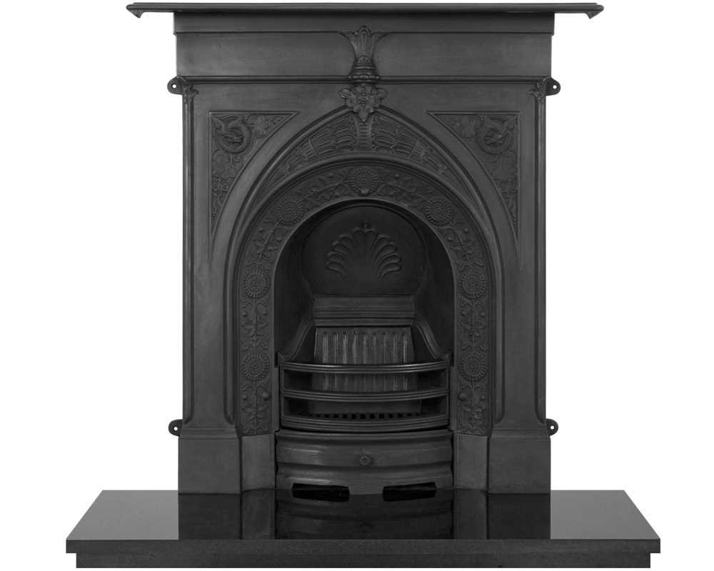 Knaresborough cast iron combination fireplace in black