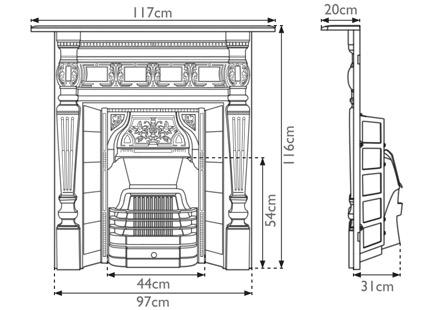 Lambourn cast iron combination fireplace measurements