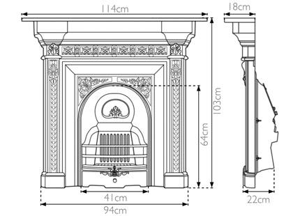 Melrose cast iron combination fireplace measurements