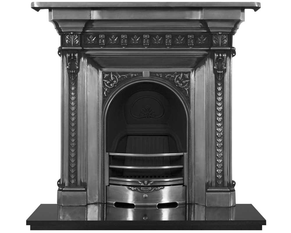 Melrose cast iron combination fireplace in full polish