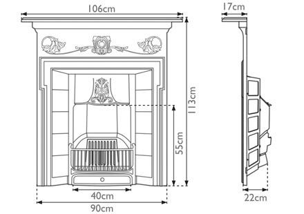 Morris cast iron combination fireplace measurements