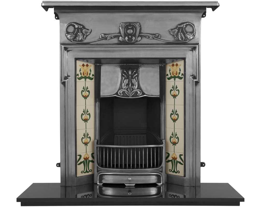 Morris cast iron combination fireplace with tiles in full polish
