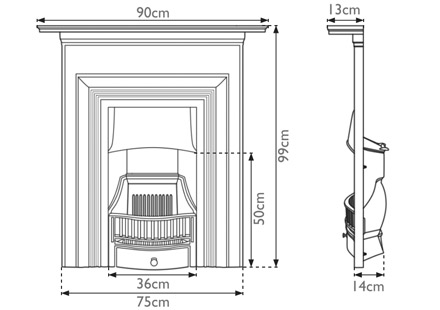 Oxford combination cast iron fireplace measurements