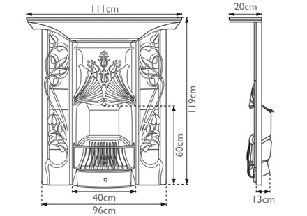 Toulouse combination fireplace measurements