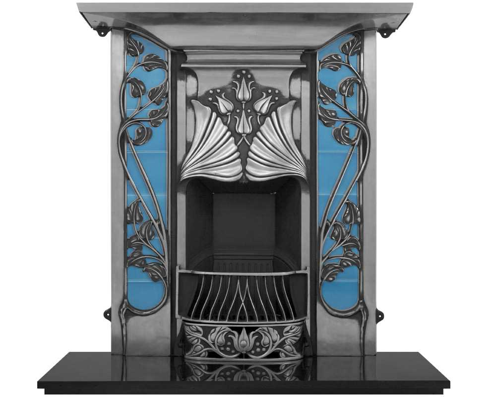 Toulouse combination fireplace with blue tiles in full polish