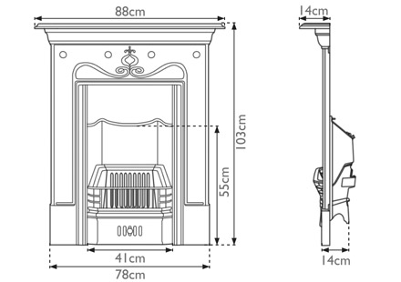 Tulip cast iron fireplace measurements