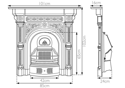 Tweed cast iron combination fireplace measurements