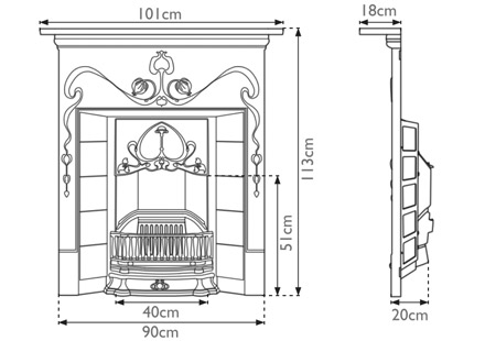 Valentine cast iron combination fireplace measurements