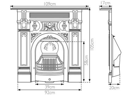 large Victorian cast iron combination fireplace measurements