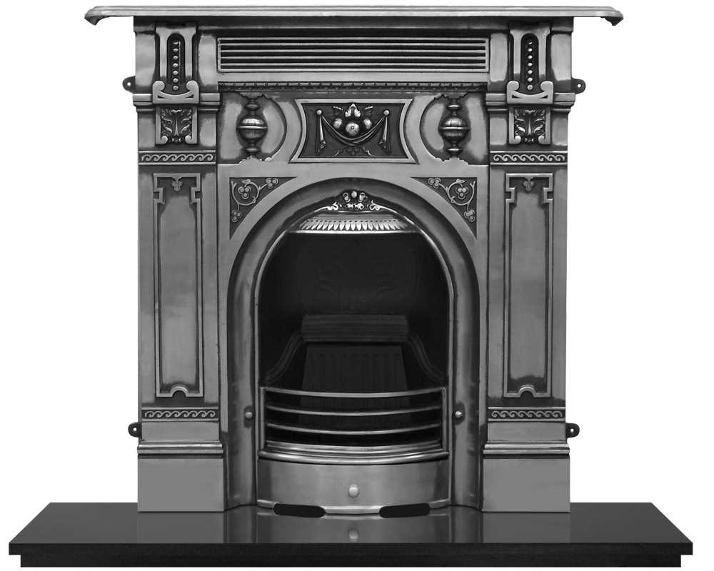large Victorian cast iron combination fireplace in full polish