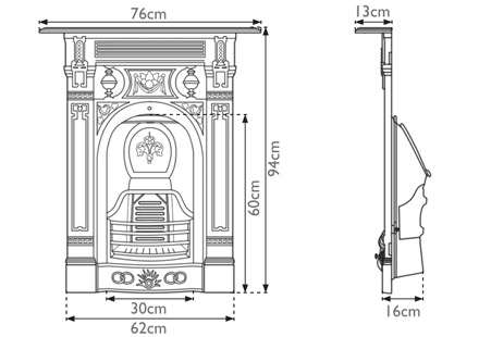 small Victorian combination fireplace measurements