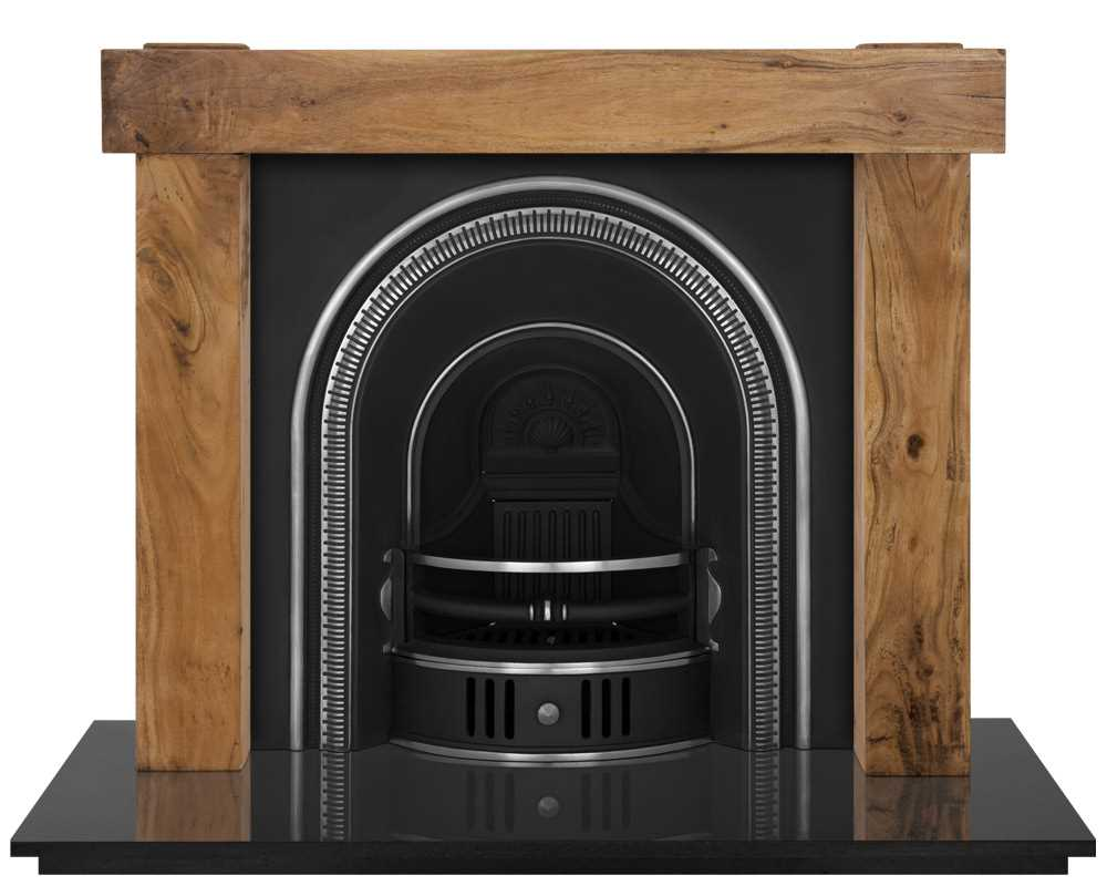 Beckingham fireplace insert in highlight polish with wooden surround