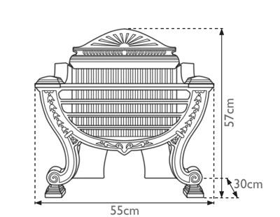 Balmoral cast iron fire basket measurements