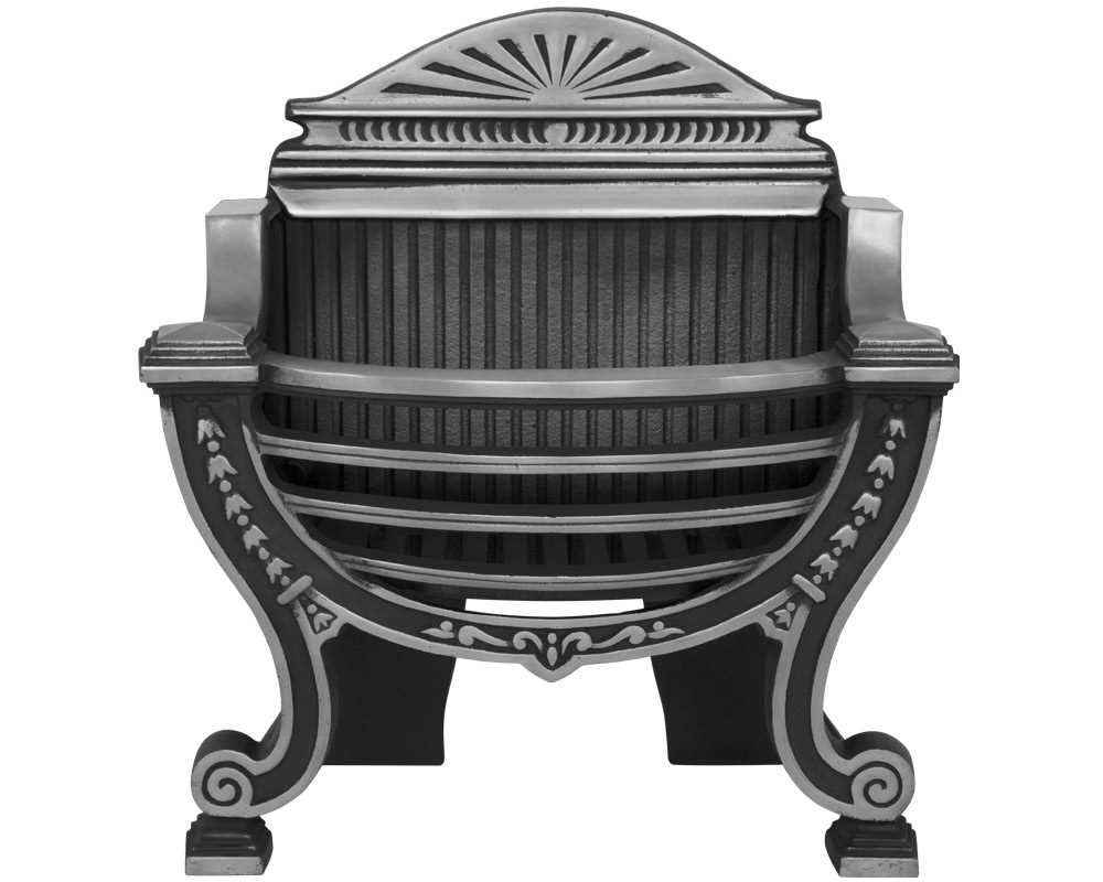 Balmoral cast iron fire basket in highlight polish