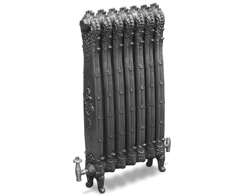 Antoinette cast iron radiator in hand burnished finish
