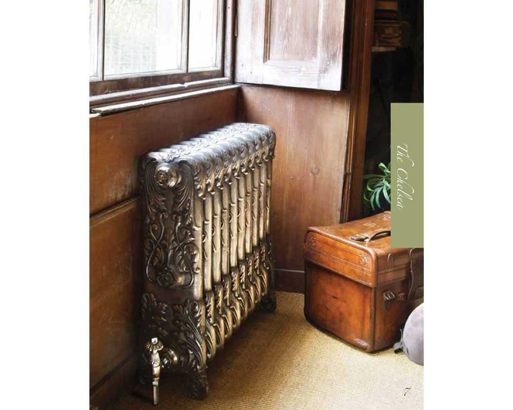 Chelsea cast iron radiator in hand burnished finish in period property