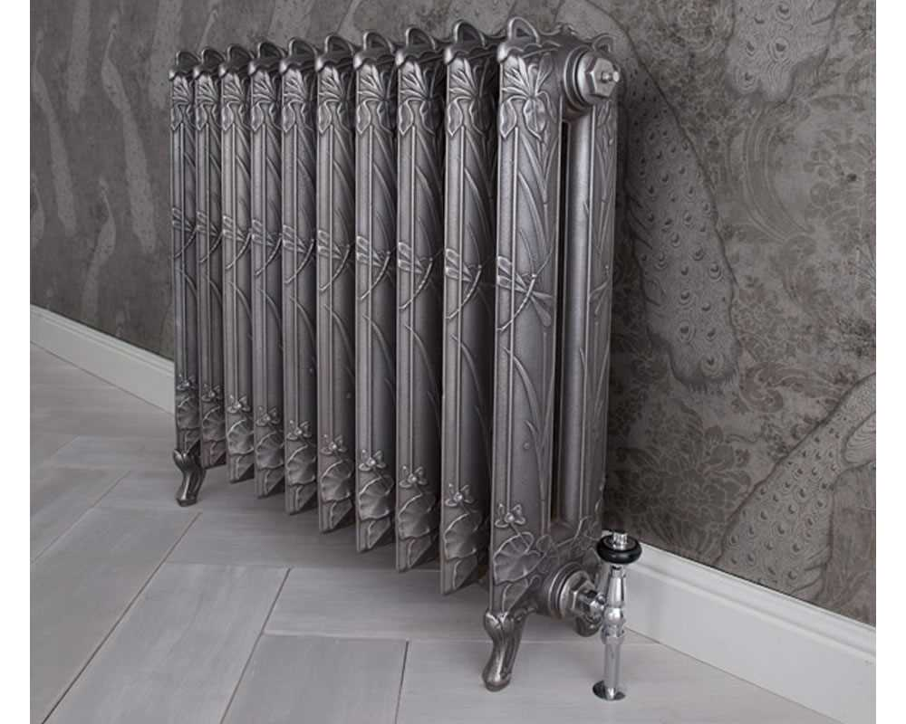 Dragonfly cast iron radiator in hand burnished finish