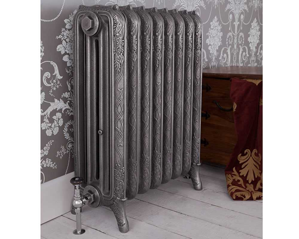 hand burnished 4 column cast iron radiator in period property
