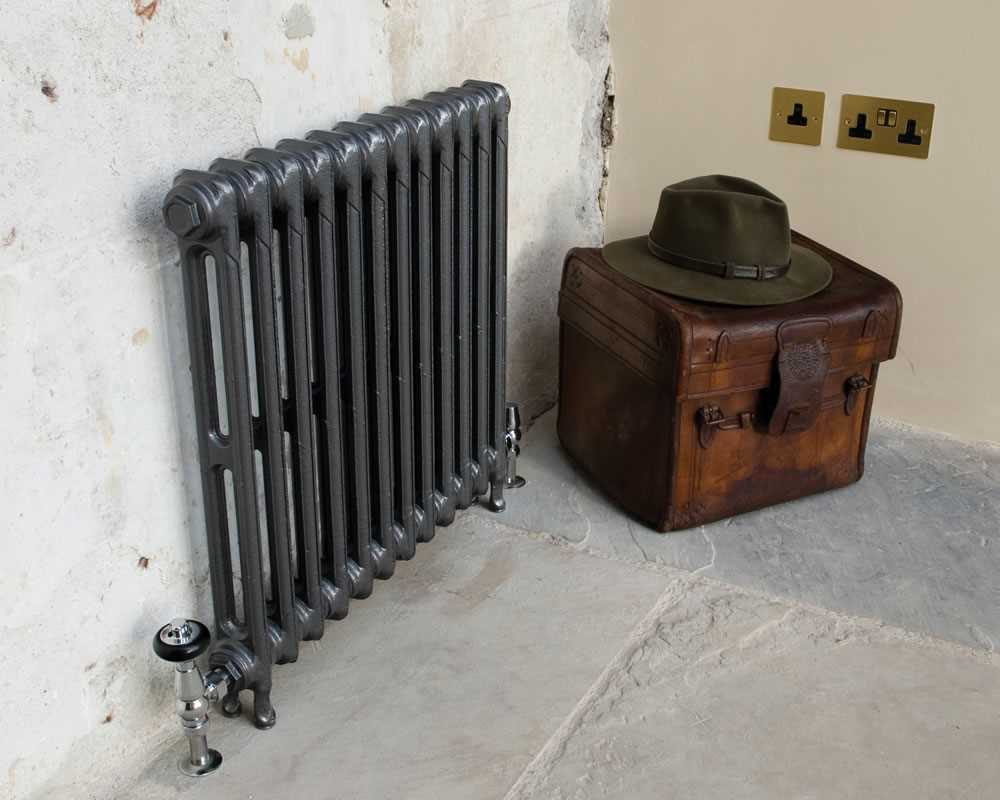 Victorian 2 column cast iron radiator in foundry grey