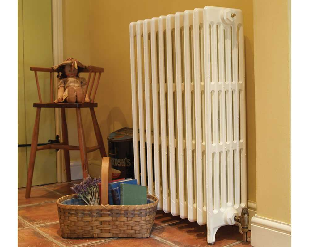Victorian 6 column cast iron radiator in parchment white
