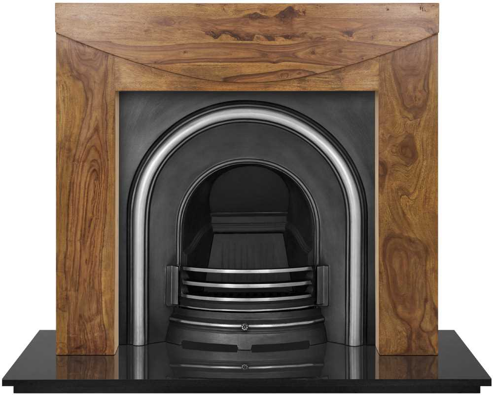 Celtic arch fireplace insert in highlight polish with wooden surround