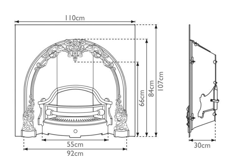 Cherub fireplace insert measurements