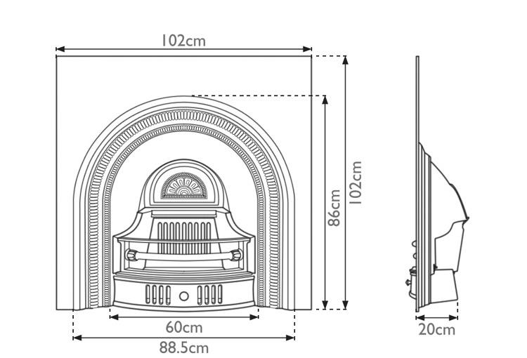 Collingham cast iron fireplace insert measurements