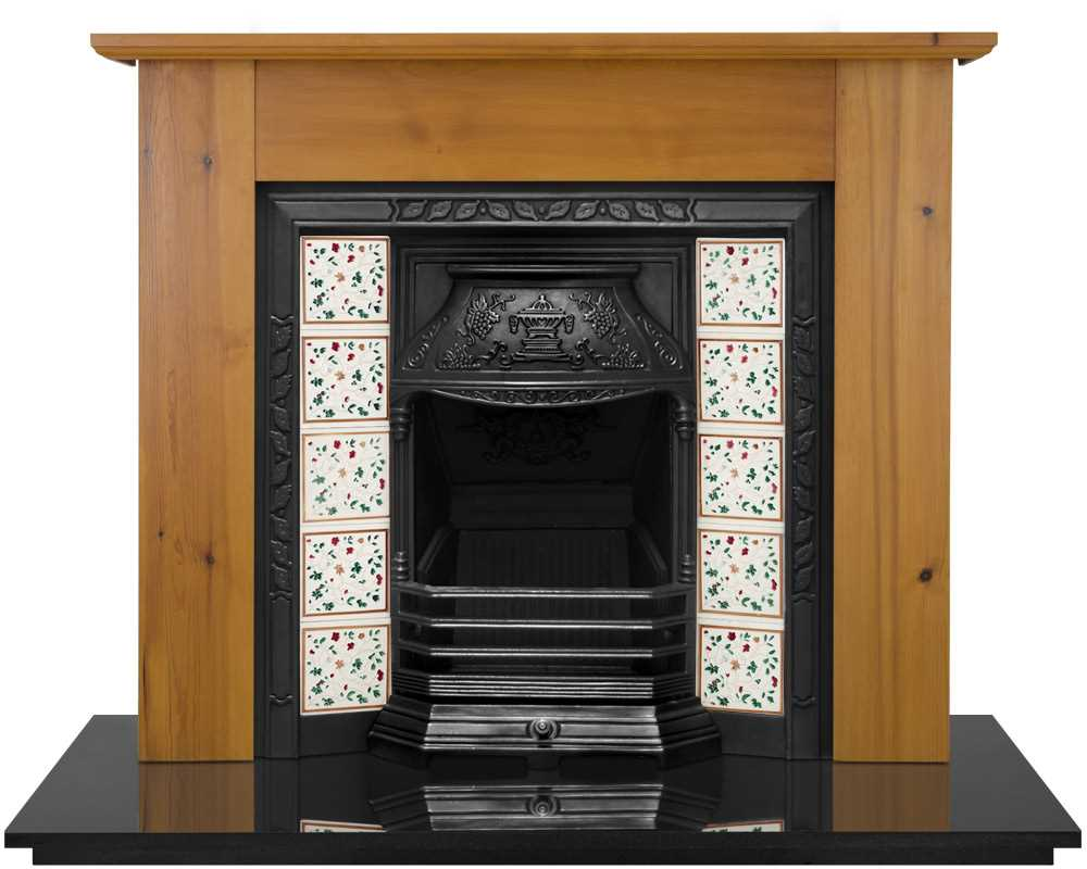 Laurel fireplace insert shown in black with solid wood surround