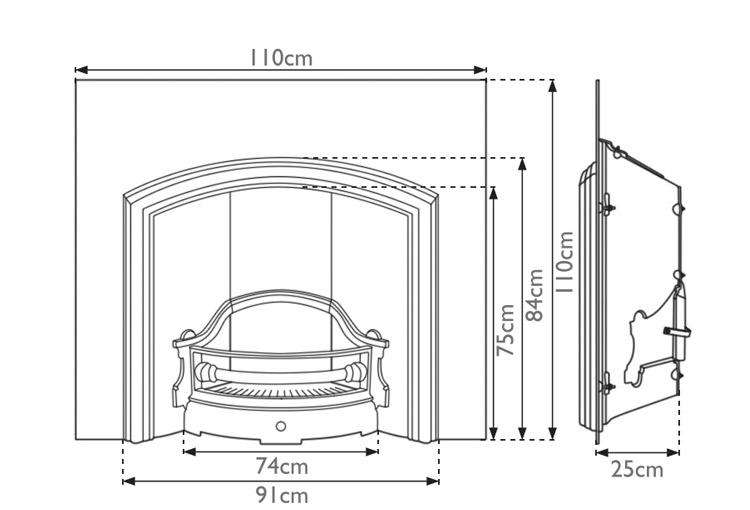 wide London Plate fireplace insert measurements