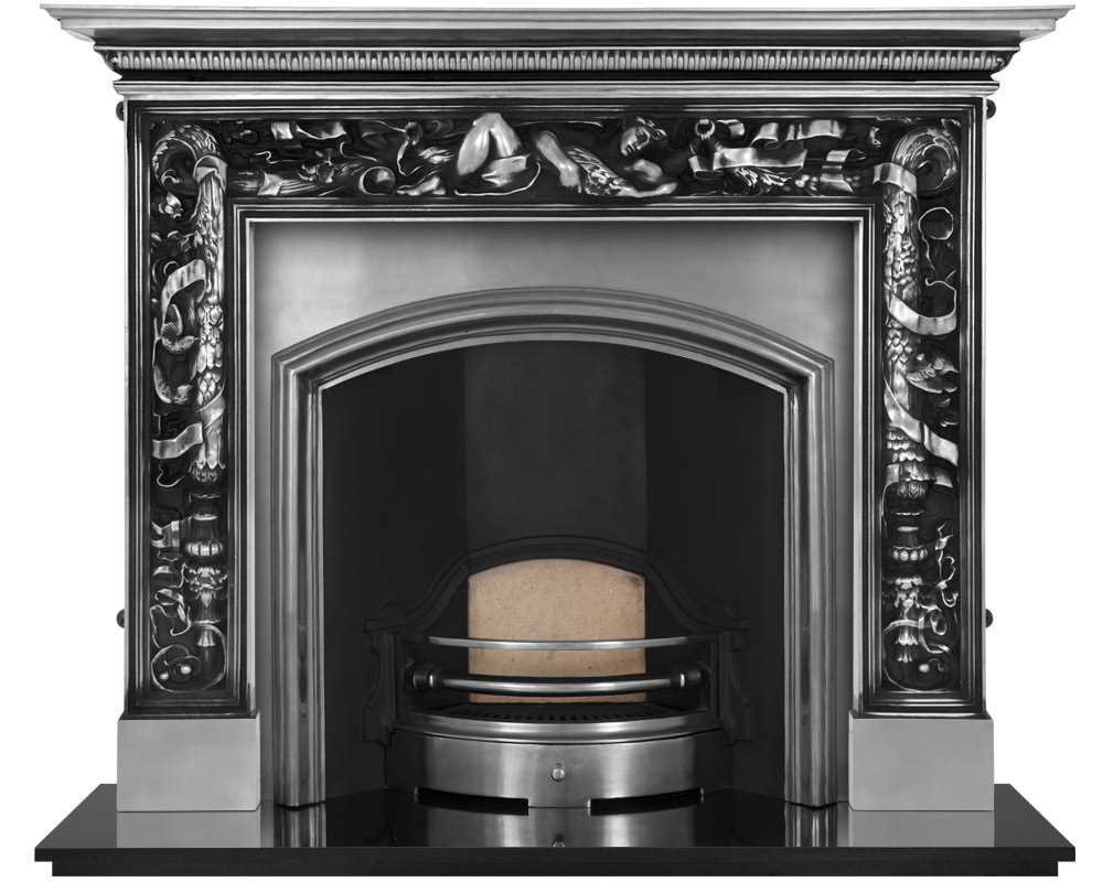 wide London Plate fireplace insert in full polish with cast iron surround