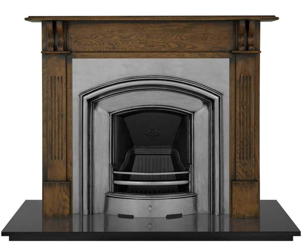 London Plate fireplace insert shown in full polish with wooden surround